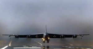 A U.S. Air Force B-52 bomber takes off from RAF Fairford in Gloucestershire, England, in this file photo taken March 23, 2003.  REUTERS/DarrenStaples/Files