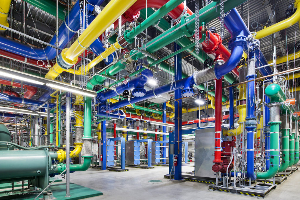 "Some of the ""plumbing"" of Google's massive data center"