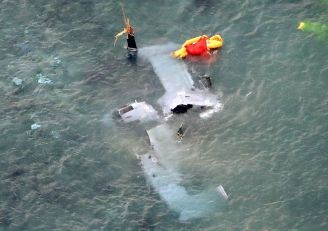 A Crashed Marine Osprey MV-22 in the water near Camp Schwab, Okinawa
