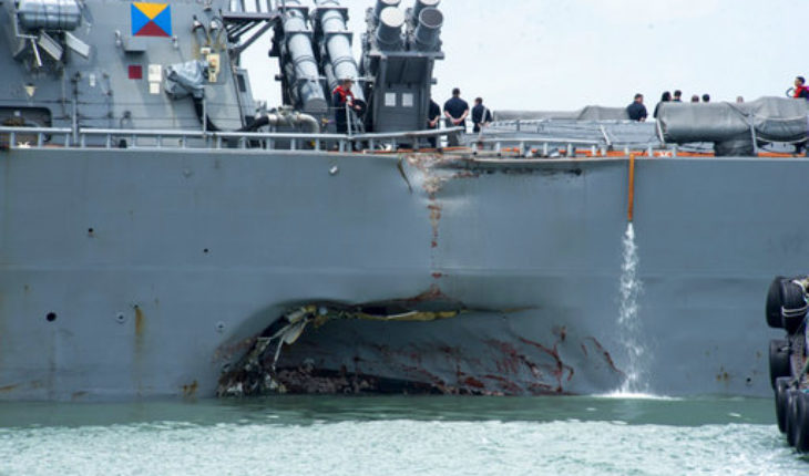 Remains of USA sailors found on warship that collided off Singapore